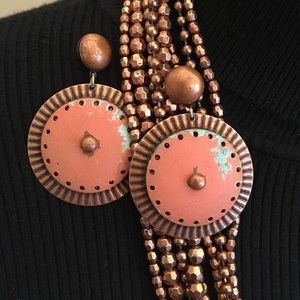 Copper Colored Earrings & Necklace Beads
