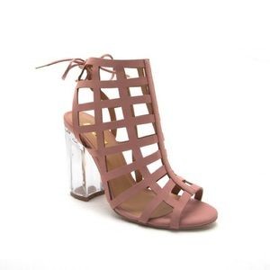 shoeroom21 boutique Shoes - Ladies high top backless clear heels cage sandal