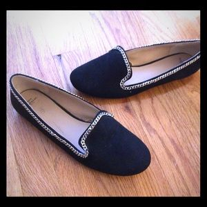 Zara loafers with silver chain 8.5