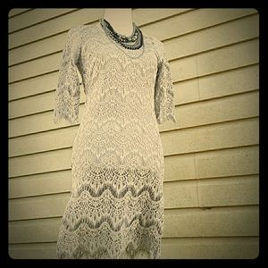 Fashionomics Dresses & Skirts - BOUTIQUE Gray lace dress *LIMITED QUANTITIES