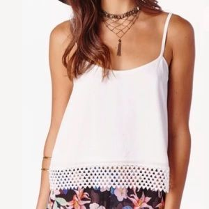 Show Me Your MuMu Tops - NEW Mumu Cami White with Lace Adjustable Straps