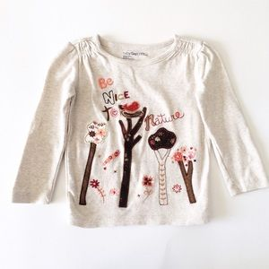GAP Other - BABY GAP [baby girl]Tan be kind to Nature bird Top