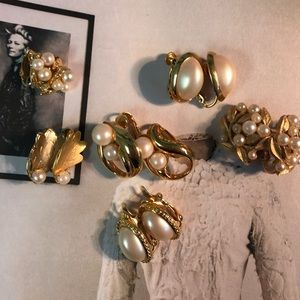 MONET Pearl Golden Clip-on Earrings