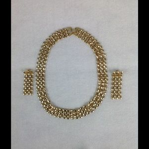 Vintage Gold Necklace and Earrings Set