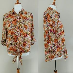 Kut from the Kloth Tops - Kut From The Kloth SZ M Floral Top Waist Tie