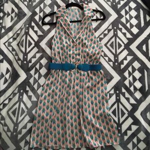 Everly Fun Retro Dress with Turquoise Belt