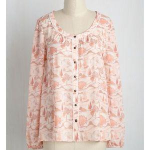 ModCloth Tops - Modcloth NWOT Flowy Scenic Peach Blouse Shirt M
