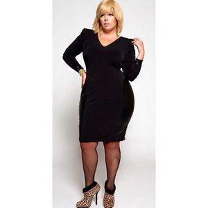 Monif C. Dresses & Skirts - Monif C sharp shoulder dress with PU hip panel