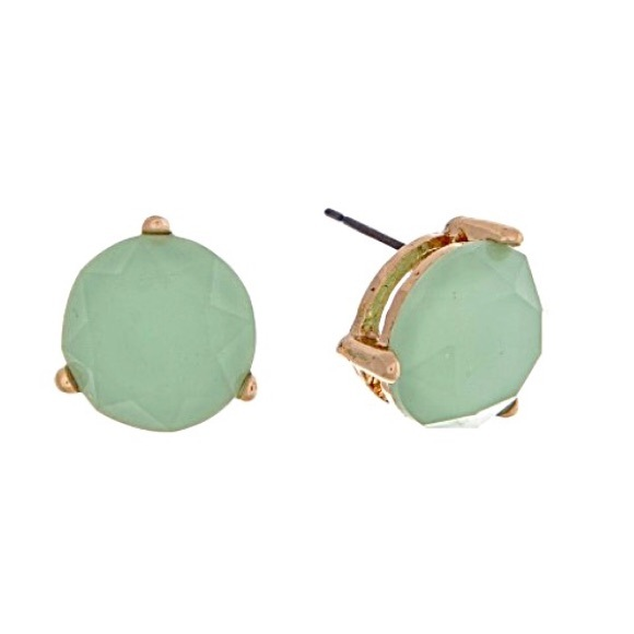 Couleur Jewelry - 🌎👂🏼Gold Tone Faceted Round Mint Post Earrings