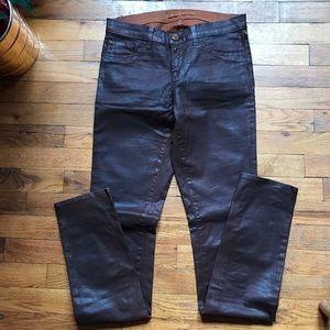 J Brand Skinny Patent Sheen Brown Pants. Sz 27