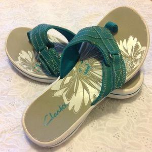 Clarks Shoes - Clarks Turquoise Breeze Sea Flip Flops