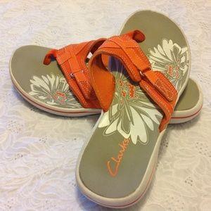 Clarks Shoes - Clarks Orange Breeze Sea Flip-Flops