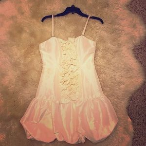 Dresses & Skirts - White Satin Mini Dress with Ruffle Accent