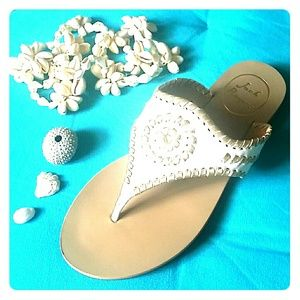 Jack Rogers Shoes - Jack Rogers White Gold Thong Sandals