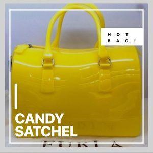 "FURLA ""CANDY"" SATCHEL | BRIGHT YELLOW-RARE COLOR"