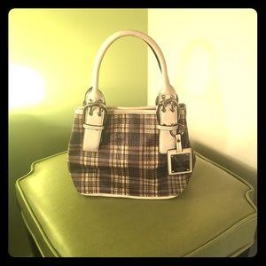 Tignanello Handbags - Tignanello Plaid Leather Satchel