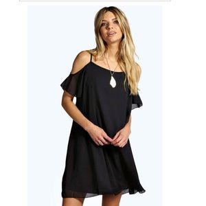 NWT Boohoo Arrabella Open Shoulder Swing Dress
