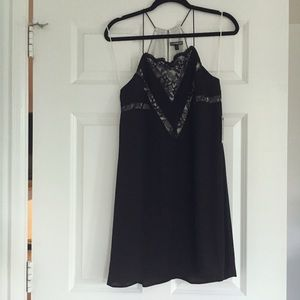 Express Black Dress With Lace Insert Detail