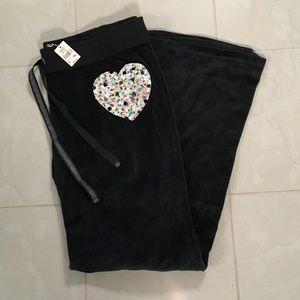 NEW VS Pink black velour wide leg pants sz L