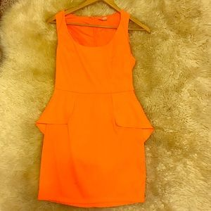 Nordstrom Dresses & Skirts - Nordstrom Bright Orange Mini Peplum Dress Lik New