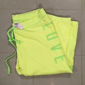 NEW VS Pink cropped sweatpants sz L