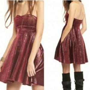 / Free People / Berry Shattered Shine Velvet Dress