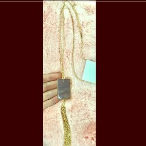Long tassel with stone necklace
