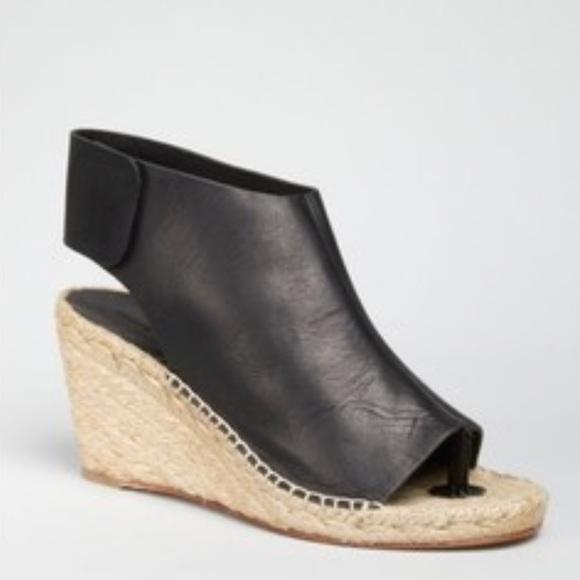 e13d6573e4c Celine black leather espadrille wedge sandals.