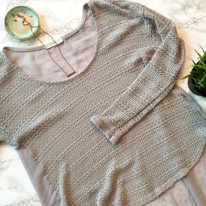 Lush Tops - FINAL PRICE🍃Long-sleeved Mixed Media Top