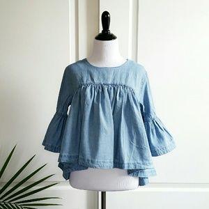 Denim/Jean Bell Sleeve Babydoll Top