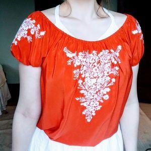 Karen Kane Tops - Karen Kane Orange Silk Embroidered Peasant Blouse