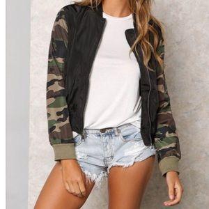 Jackets & Blazers - 🆕 Camouflage sleeves bomber jacket