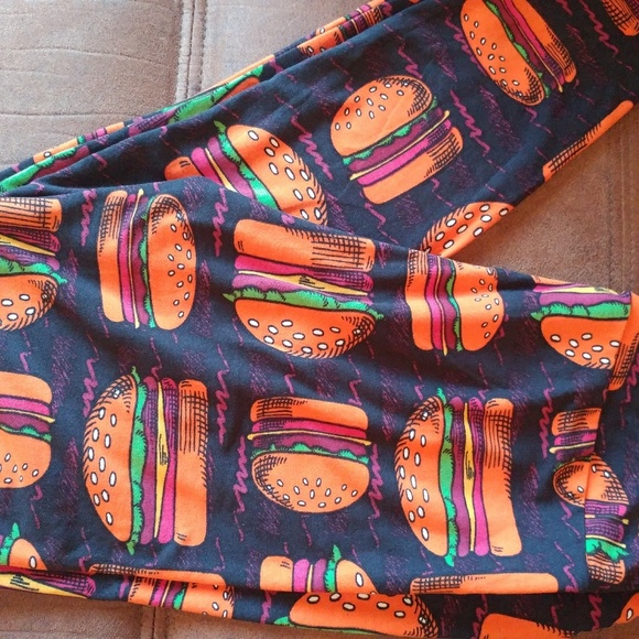 Lularoe Pants Llr Os Cheese Burger Leggings Poshmark
