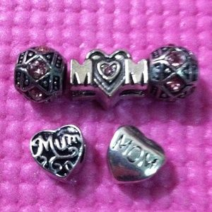 Jewelry - Jeweled mom heart, jeweled spacer charm sets