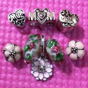 Jewelry - Rhinestone lotus, 3D flower murano glass charm set