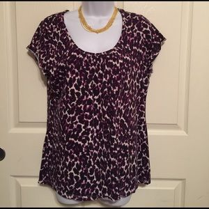 Merona XL printed purple blouse top shirt woman's