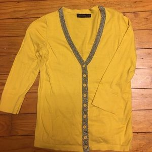 The Limited Sweaters - Mustard Yellow Cardigan with chain link details
