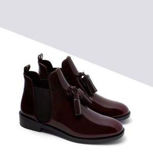 Zara Flat Booties With Tassel