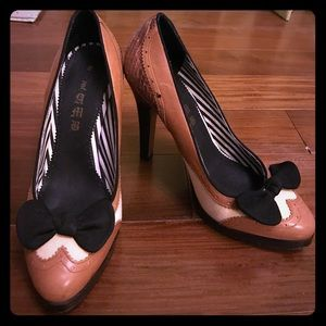 L.A.M.B. tuxedo wingtip high heels