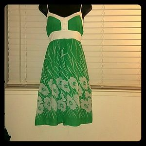 *Green and White Floral Midi Dress*