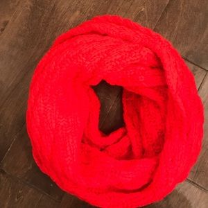 Gap Infinity Sweater Scarf Neon Coral Pink