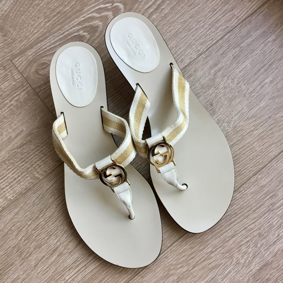 81% off Gucci Shoes - Gucci Cream &amp Gold Kitten Heel Sandals Size