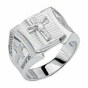 Other - 14k gold plated over Silver Crucifix men's Ring