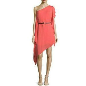 NWT HALSTON HERITAGE coral asymmetrical dress