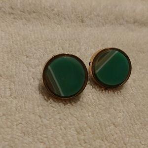 Jewelry - Vintage Women's Earring Green Agate 12K Gold GF
