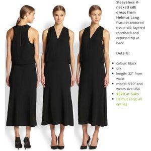 Helmut Lang Sz 2 Silk Tissue Dress