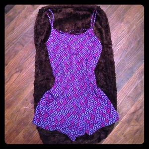 Other - Strappy Back Purple & Pink Silky Romper 💜💜
