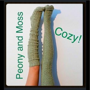 Peony and Moss Accessories - Peony and Moss Cable Knit Thigh Highs-Dried Herb