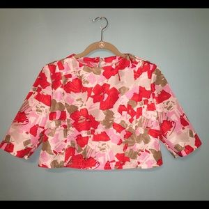Floral Print Silk Taffeta Cropped Top Blouse
