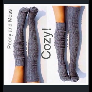 Peony and Moss Accessories - Peony and Moss Marled Thigh Highs in Charcoal